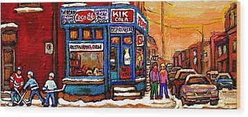 Winter Stroll Beautiful Sunny Day Montreal Street Scene  - Verdun Depanneur Hockey City Scene  Wood Print by Carole Spandau