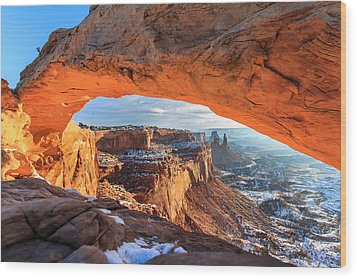 Winter Sunrise At Mesa Arch Wood Print