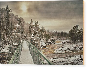 Wood Print featuring the photograph Winter Sunrise Over A Swinging Bridge by Mark David Zahn