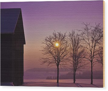 Winter Sunset Wood Print by Aged Pixel