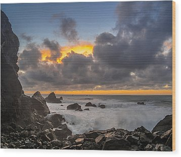 Winter Sunset At Patrick's Point Wood Print by Greg Nyquist