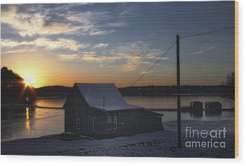 Wood Print featuring the photograph Winter Sunset At The Bog by Gina Cormier