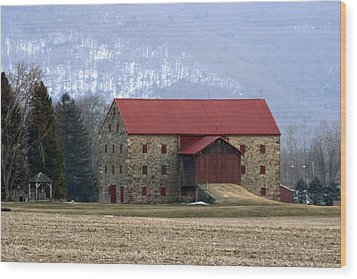 Winter Sunset  At The Old Snyder Stone Barn Wood Print