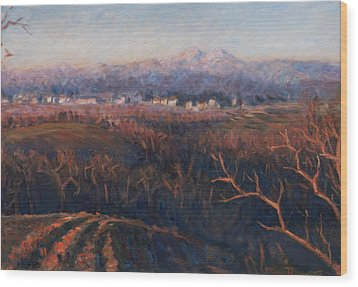 Winter Sunset In Brianza Wood Print by Marco Busoni