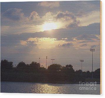 Winter Sunset In Freeport Ny Wood Print by John Telfer