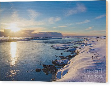Winter Sunset In Iceland Wood Print by Peta Thames