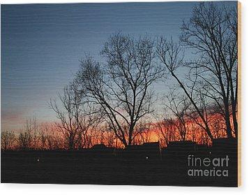 Winter Sunset Wood Print by Karen Adams
