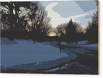 Wood Print featuring the digital art Winter Sunset by Kirt Tisdale