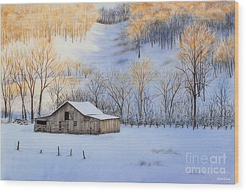 Winter Sunset Wood Print by Michelle Wiarda