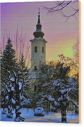Winter Sunset Wood Print by Nina Ficur Feenan