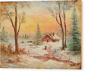 Winter Sunset Wood Print by Sorin Apostolescu