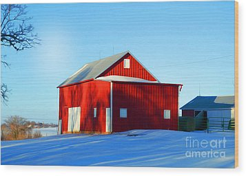 Winter Time Barn In Snow Wood Print by Luther Fine Art