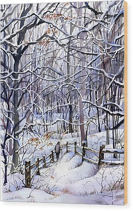Winter Trail Wood Print by Beth Kantor