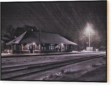 Winter Train Station  Wood Print