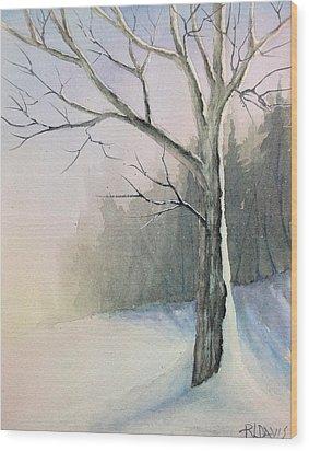 Wood Print featuring the painting Winter Tree by Rebecca Davis