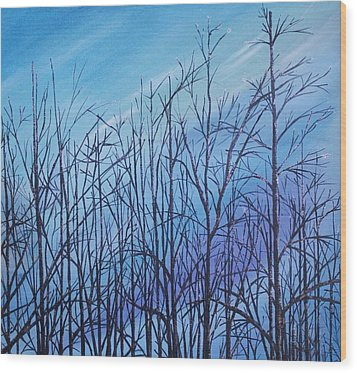 Wood Print featuring the painting Winter Trees Against A Blue Sky by Ellen Canfield