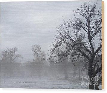 Wood Print featuring the photograph Winter Trees With Mist by Jeannie Rhode