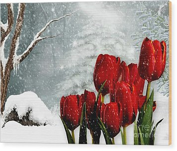 Wood Print featuring the mixed media Winter Tulips by Morag Bates
