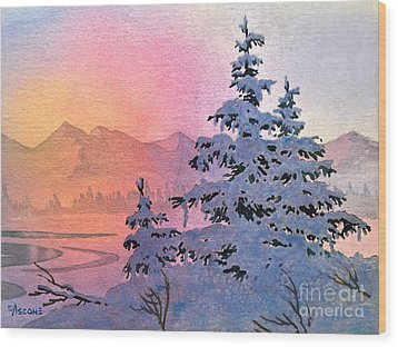 Winter Twilight Wood Print by Teresa Ascone