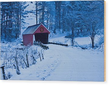 winter Vermont covered bridge Wood Print