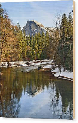 Winter View Of Half Dome In Yosemite National Park. Wood Print by Jamie Pham
