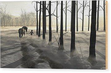 Winter Walk Wood Print by Cynthia Decker