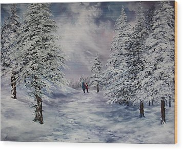 Wood Print featuring the painting Winter Walk On Cannock Chase by Jean Walker
