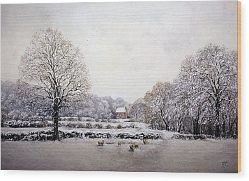 Wood Print featuring the painting Winter Walk by Rosemary Colyer