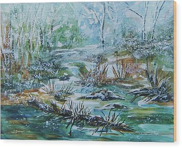 Wood Print featuring the painting Winter Whispers On Catskill Creek by Ellen Levinson