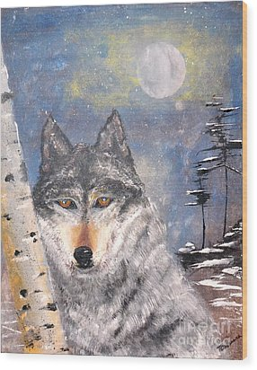 Wood Print featuring the painting Winter Wolf by Denise Tomasura