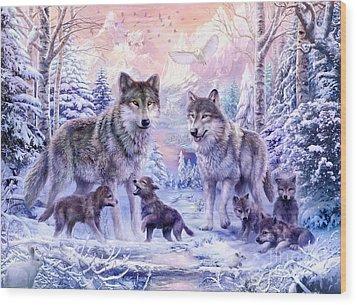 Winter Wolf Family  Wood Print by Jan Patrik Krasny