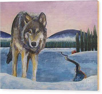 Winter Wolf Wood Print by Harriet Peck Taylor