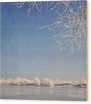 Winter Wonderland With Snowflakes Decoration. Wood Print by Lyn Randle