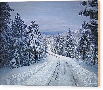 Winter Woodland Photo -country Roads Take Me Home -mountain Landscape -nature Wood Print by Julie Magers Soulen