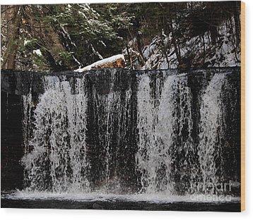 Winter Woodland Waterfall Wood Print