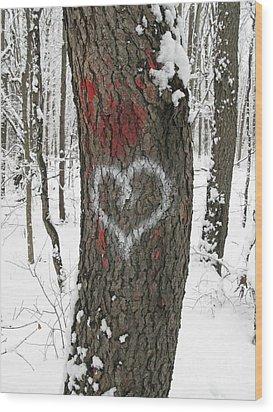 Winter Woods Romance Wood Print by Ann Horn