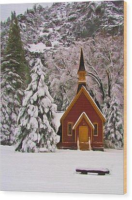 Winter Yosemite Chapel Wood Print by Heidi Smith
