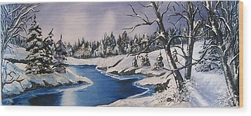 Wood Print featuring the painting Winter's Blanket by Sharon Duguay