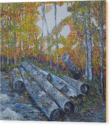 Wood Print featuring the painting Winter's Firewood by Marilyn  McNish