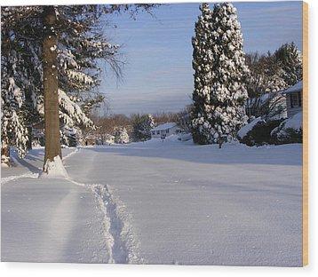 Winters Snow Wood Print