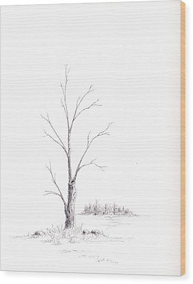Winter's Tree Wood Print