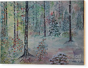 Wood Print featuring the painting Winters Wonderland by Alfred Motzer