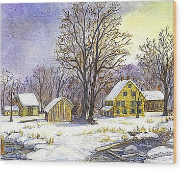Wood Print featuring the painting Wintertime In The Country by Carol Wisniewski