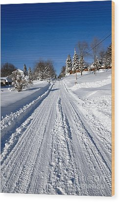 Wintery Road Wood Print by Amy Cicconi