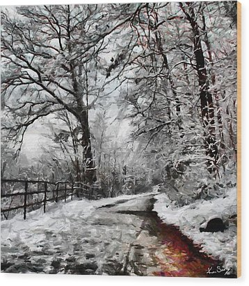 Wood Print featuring the digital art Wintery Road by Kai Saarto
