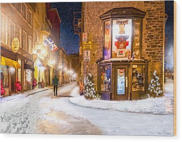 Wintery Streets Of Old Quebec At Night Wood Print by Mark Tisdale