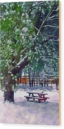 Wintry  Snowy Trees Wood Print by Lanjee Chee