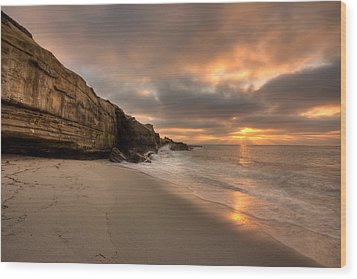 Wipeout Beach Sunset Wood Print by Peter Tellone