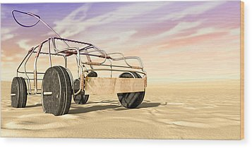 Wire Toy Car In The Desert Perspective Wood Print by Allan Swart