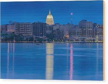 Wood Print featuring the photograph Wisconsin Capitol Reflection by Sebastian Musial